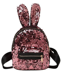 Rabbit Ear Sequins Backpack (pink)