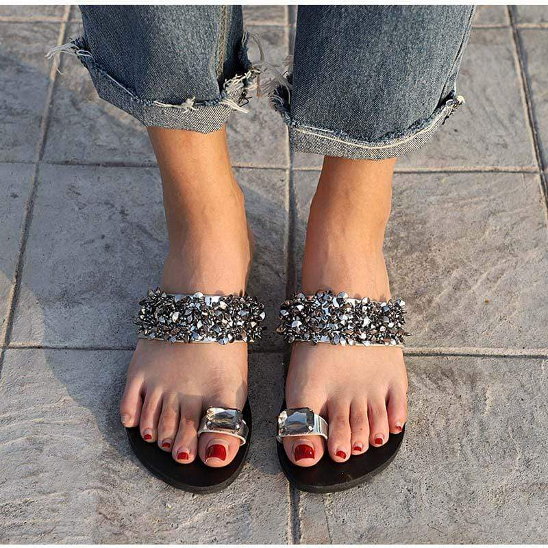 Elegant Toe Jewel Slippers