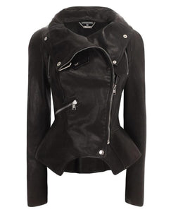 Ladys Fitted Leather Coat