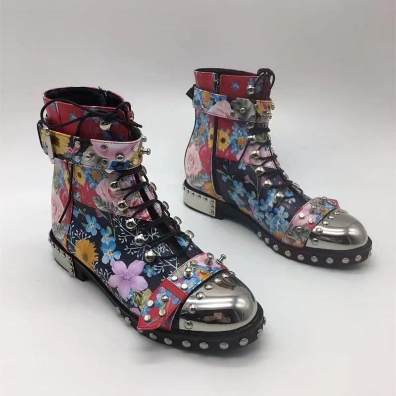 Flower Chunky Army Combat Boots