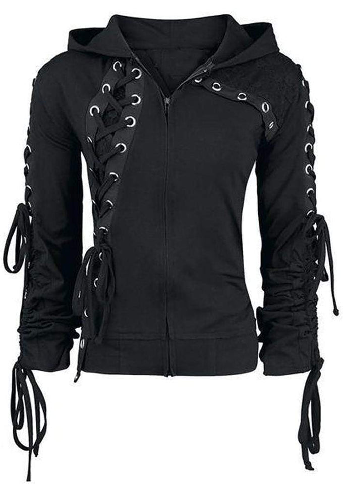 Ladys Punk Lace-up Hoodie