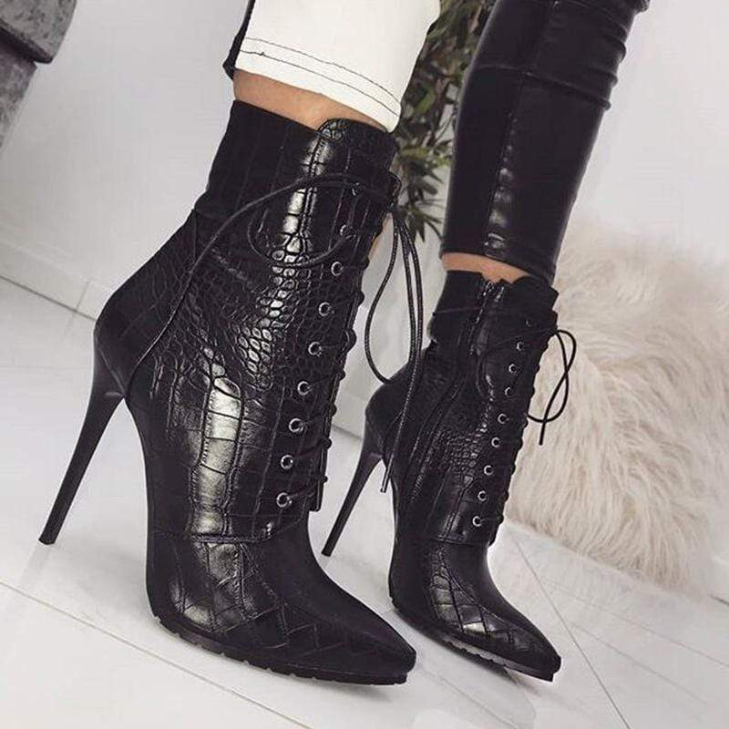 Patterned Pointed Toe High Heels
