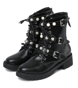 Pearl Cross Strap Combat Boots