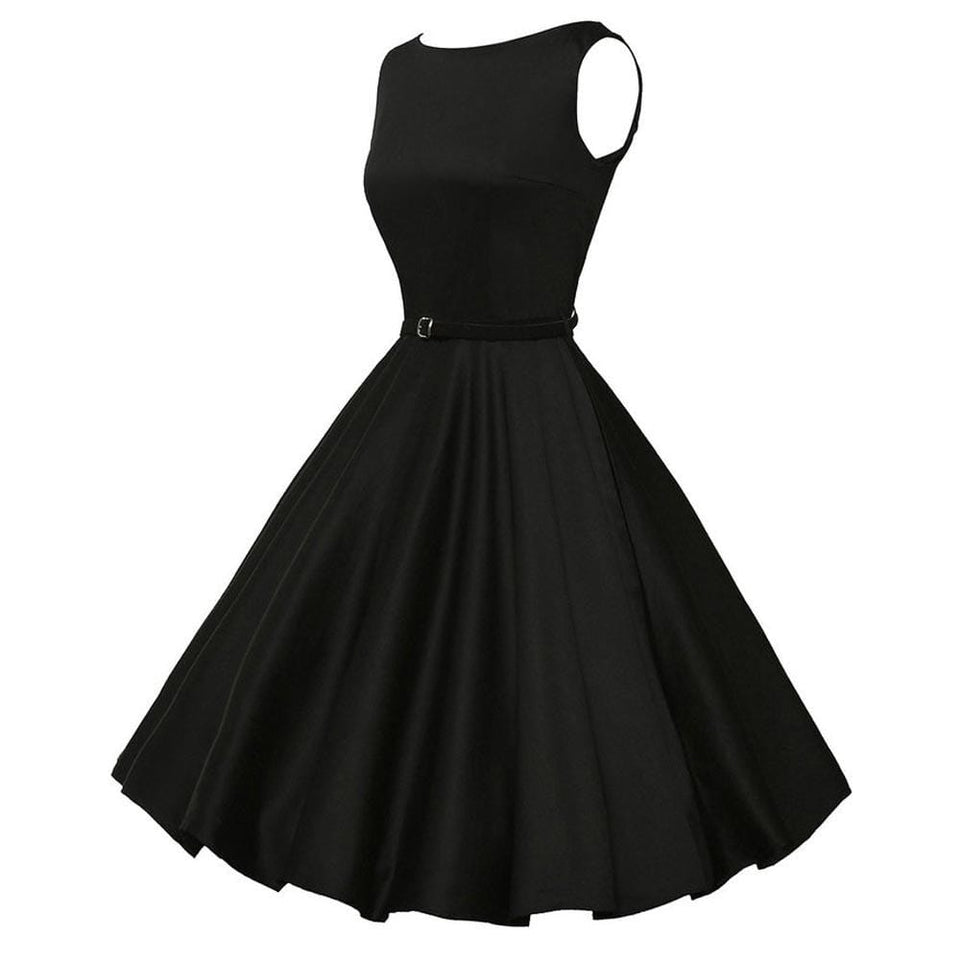 Retro Little Black Swing Dress