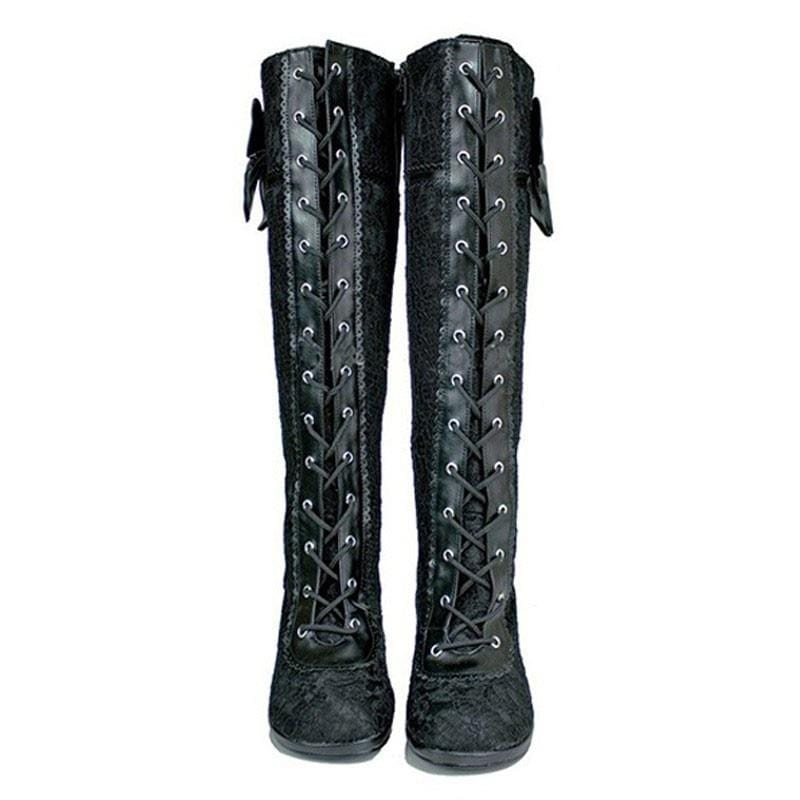 Sexy Lace Knee High Black Cosplay Boots