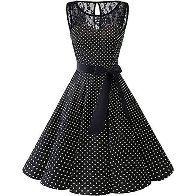 Sleeveless Polka Dot Lace Pleated Dress