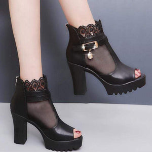 Platform Lace Open Toe Sandals (black)