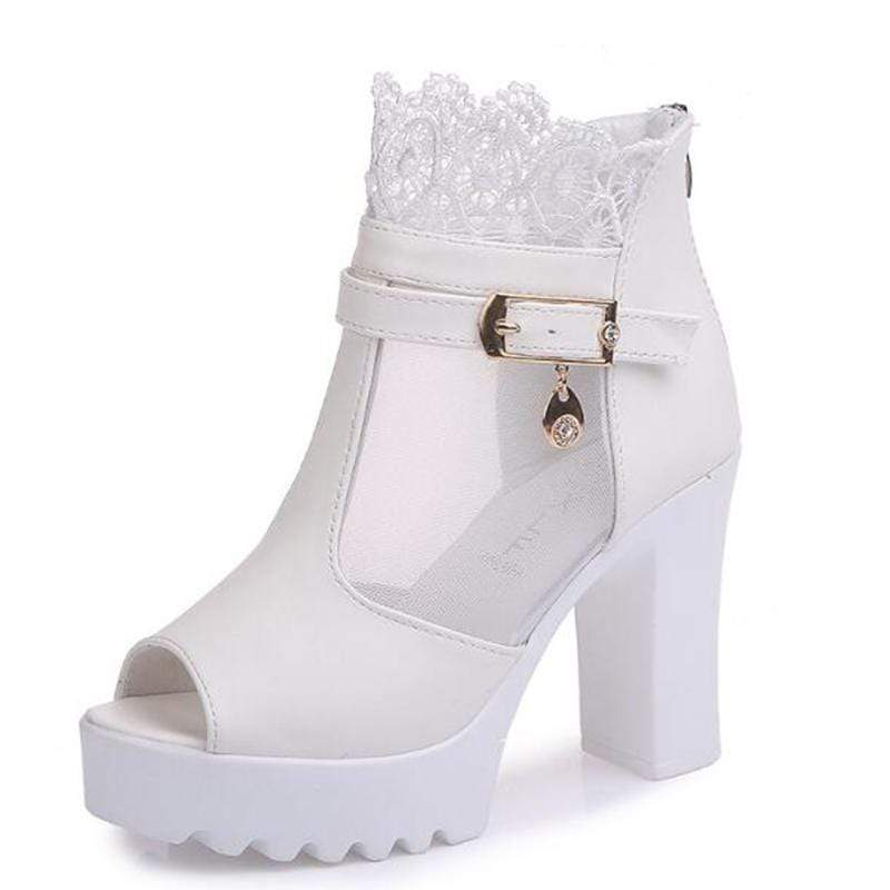 Platform Lace Open Toe Sandals (white)