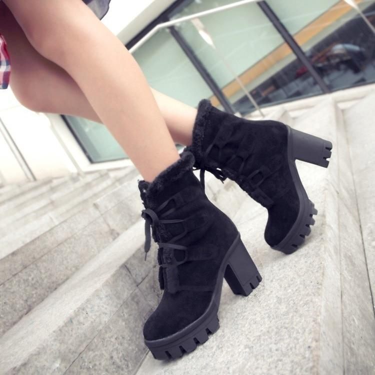 Ladys Lace Up Platform Fluffy Boots