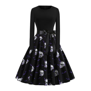 Vintage Skull Long Sleeve Dress
