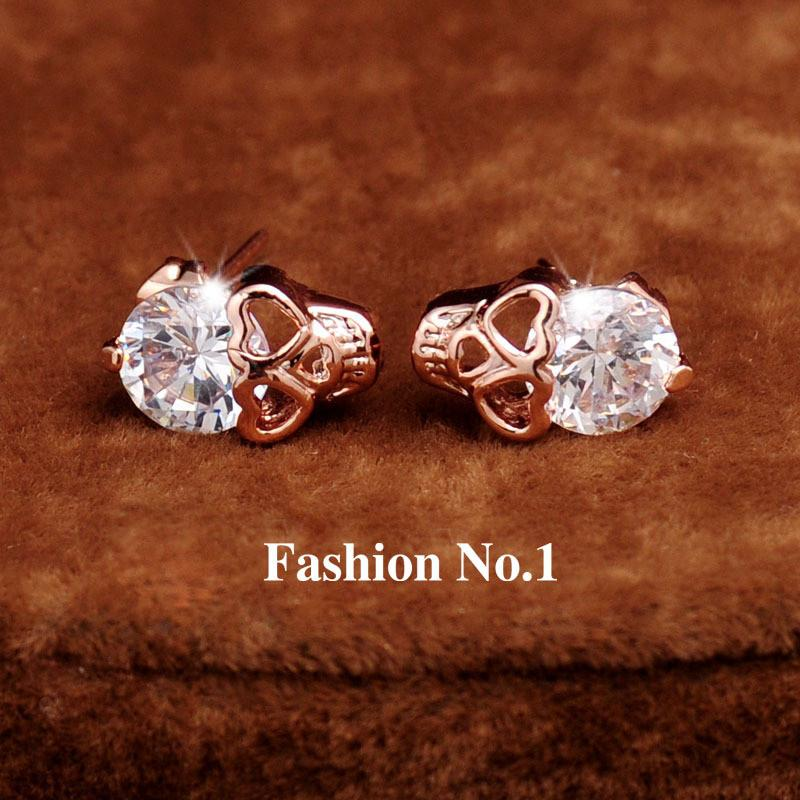Skull Diamond Stud Earrings