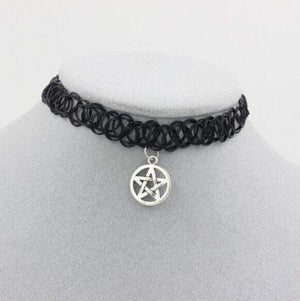 Gothic Stretch Elastic Choker with Pendant Necklaces