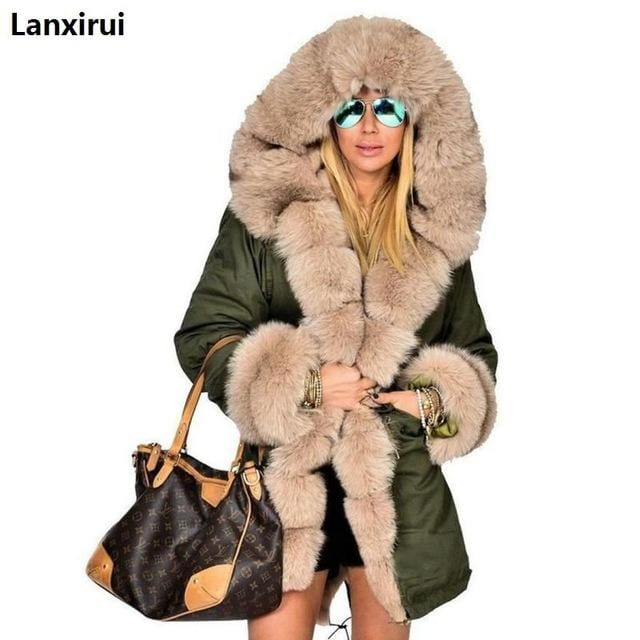 Long Hooded Fur Coat