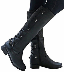 Womens Cross Strap Thigh High Boots