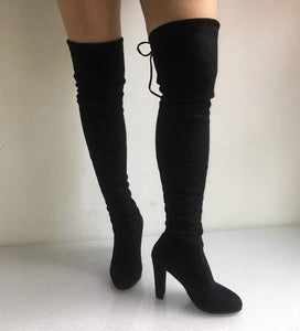 Gothic Faux Suede Thigh High Boots