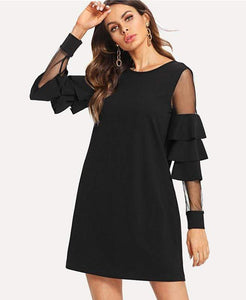 Ruffle Long Sleeve A Line Dress