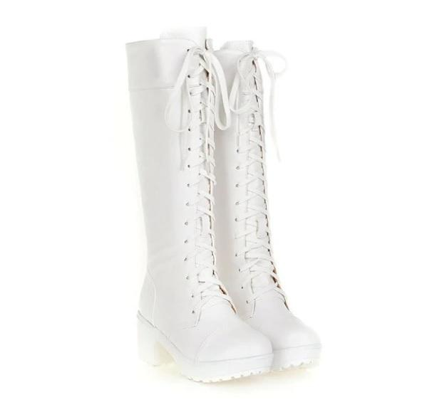 White Knee High Deadly Boots