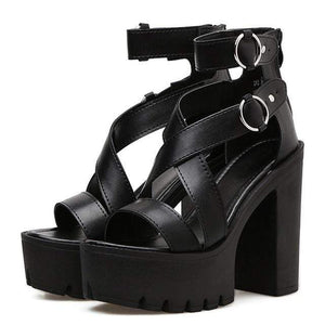 High Heel Cross Strap Platform Sandals