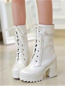Lolita Lace Up High Heel Boots