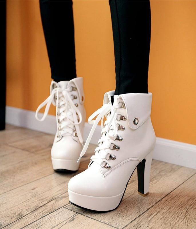 Lace-up Ankle Boots High Heels