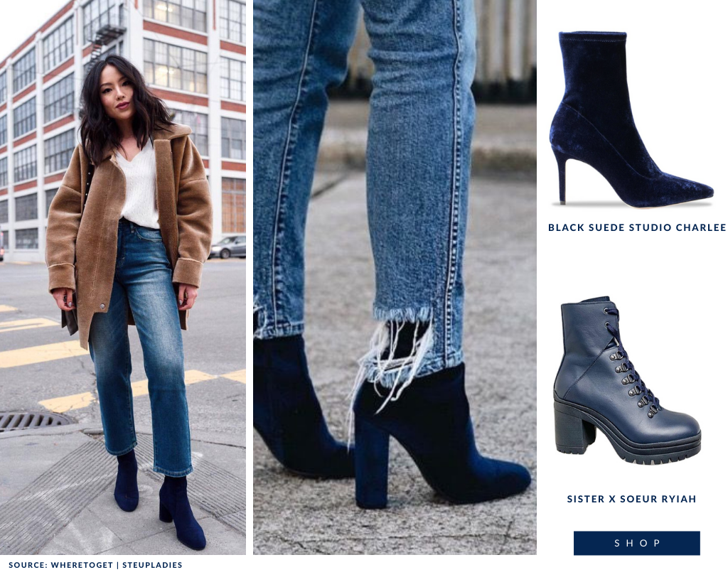 How to wear navy boots. Pair them with lighter or darker denim.