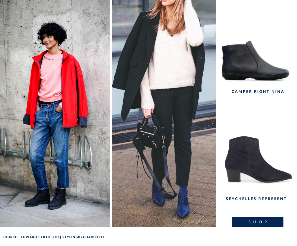 How to style navy boots- pair them with a bold red jacket!
