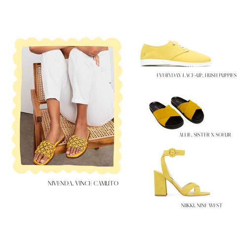 BRIGHT YELLOW KNOTTED SANDALS, BRIGHT YELLOW SNEAKERS, BRIGHT YELLOW SLIDE SANDALS, BRIGHT YELLOW SANDALS WITH BLOCK HEEL