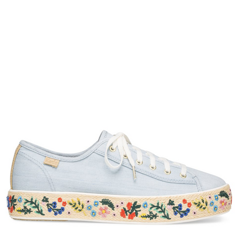 Keds Rifle Paper Co. - Light Blue and Embroidered Jute