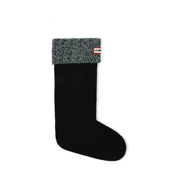 Hunter Women's 6 Stitch Cable Boot Sock in Black/Grey