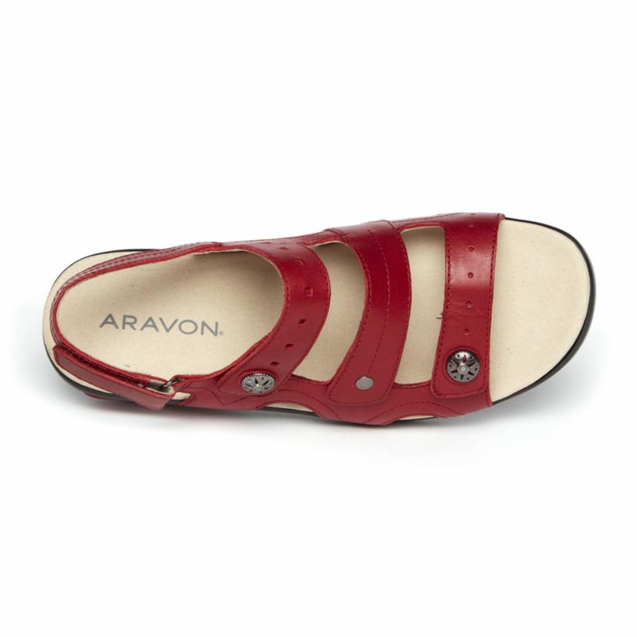 Aravon Women's Ch1941 Power Comfort Sandals Red B