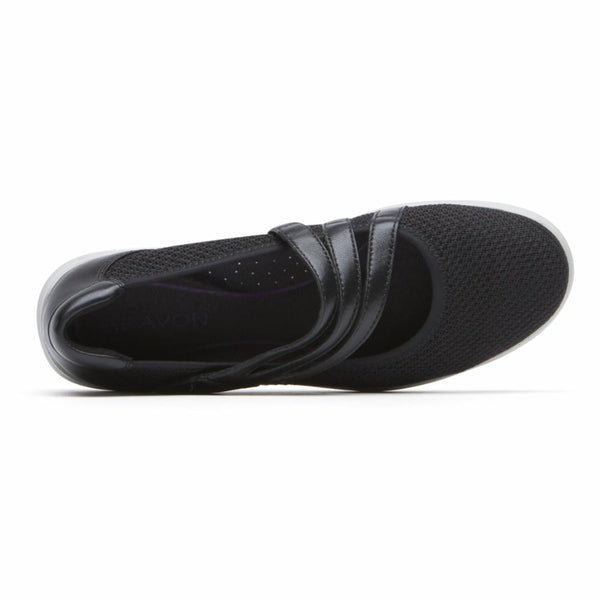 Aravon Women's Ch4497 Power Comfort Black D Flats Aravon