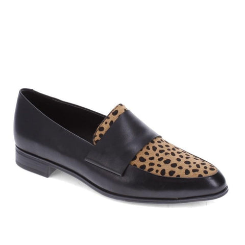 Django And Juliette Women's Gabrian Loafer in Black-Tan & Black Dot Flats Django And Juliette 36