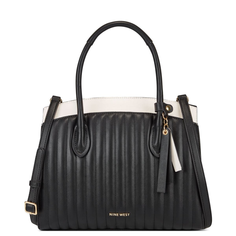 Nine West Handbags Charlize Triple Compartment Satchel in Buff Multi Shoulder Bags Nine West Handbags One Size