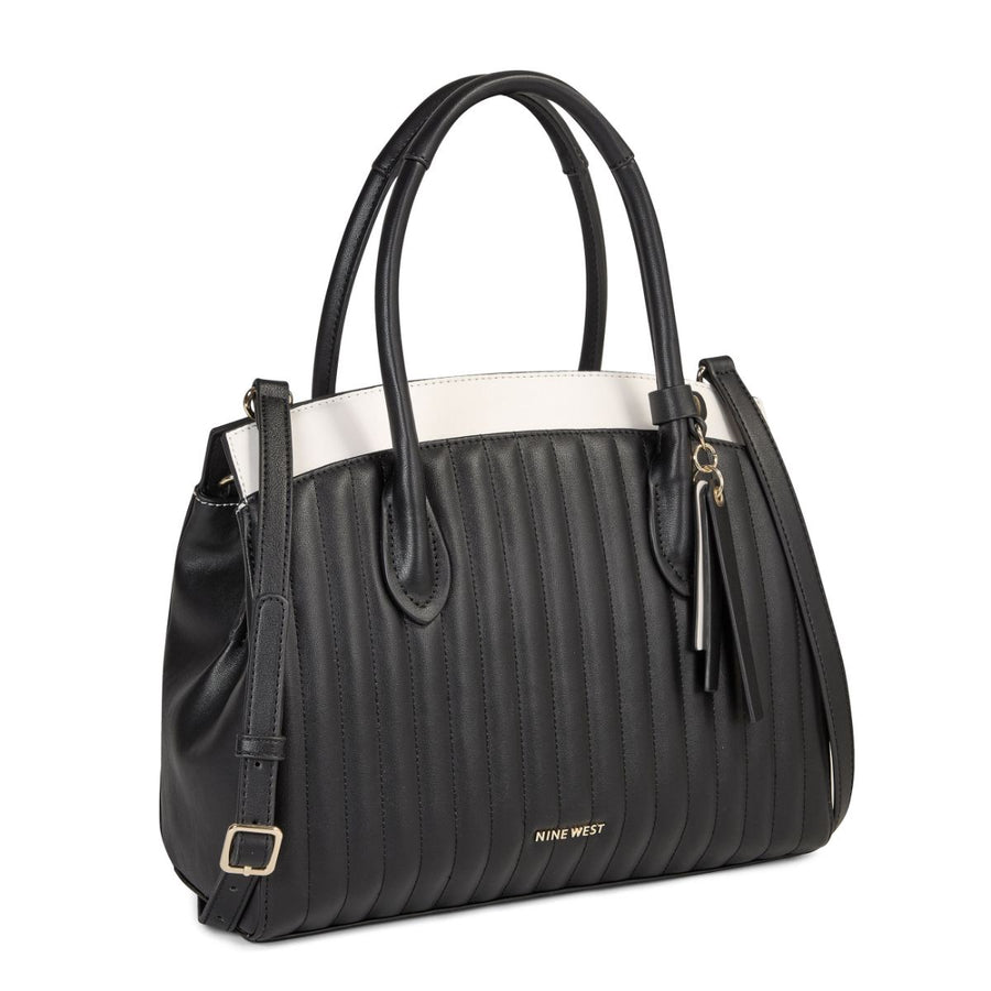 Nine West Handbags Charlize Triple Compartment Satchel in Buff Multi Shoulder Bags Nine West Handbags