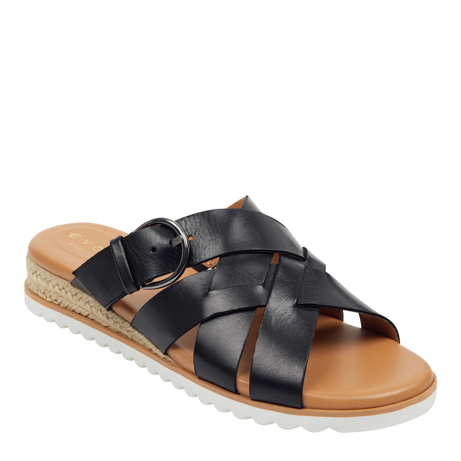 Easy Spirit Women's Pace Flat Slides in Black W Sandals Easy Spirit