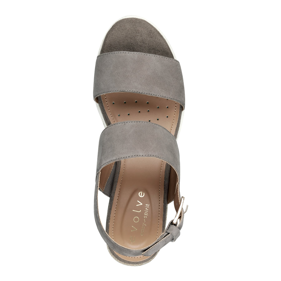 Easy Spirit Women's Zen Platform Wedge Sandals in Taupe Heels Easy Spirit