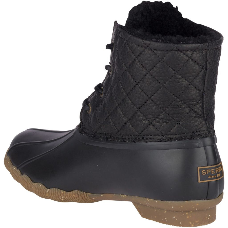 Sperry Women's Saltwater Winter Luxe in Black Rain Boots Sperry