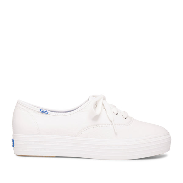 Keds Women's Triple Leather Sneakers in White Sneakers Keds 5.5