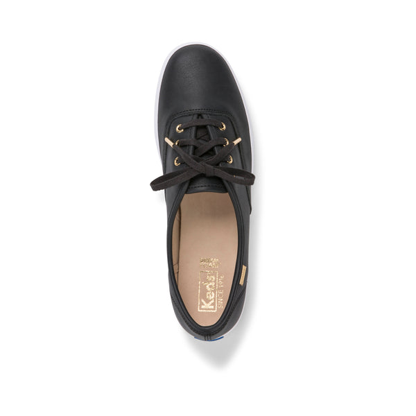 Keds Women's Champion Luxe Leather Ii in Black Sneakers Keds