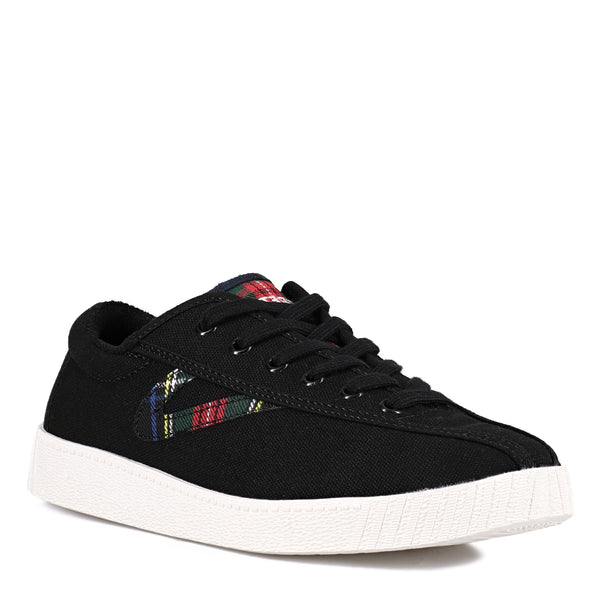 Tretorn Women's Nylite 28 Plus Sneakers in Black Tartan Sneakers Tretorn