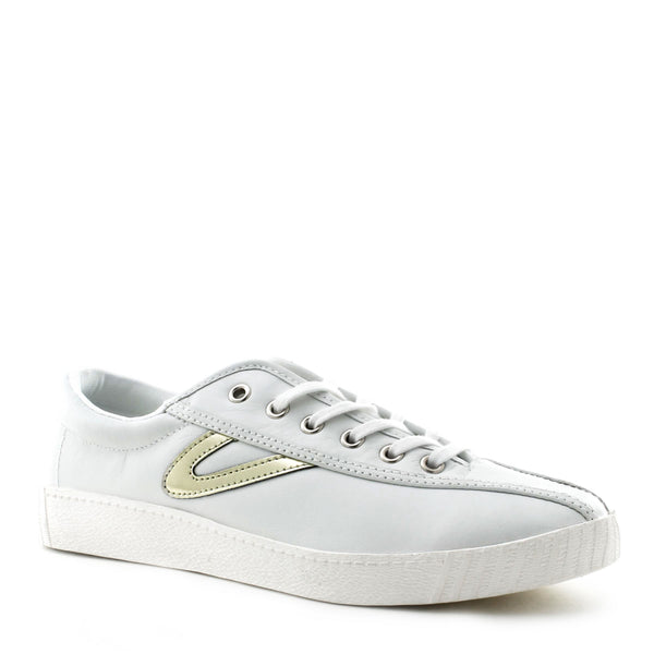Tretorn Women's Nylite 2 Shoe in White and Gold Sneakers Tretorn
