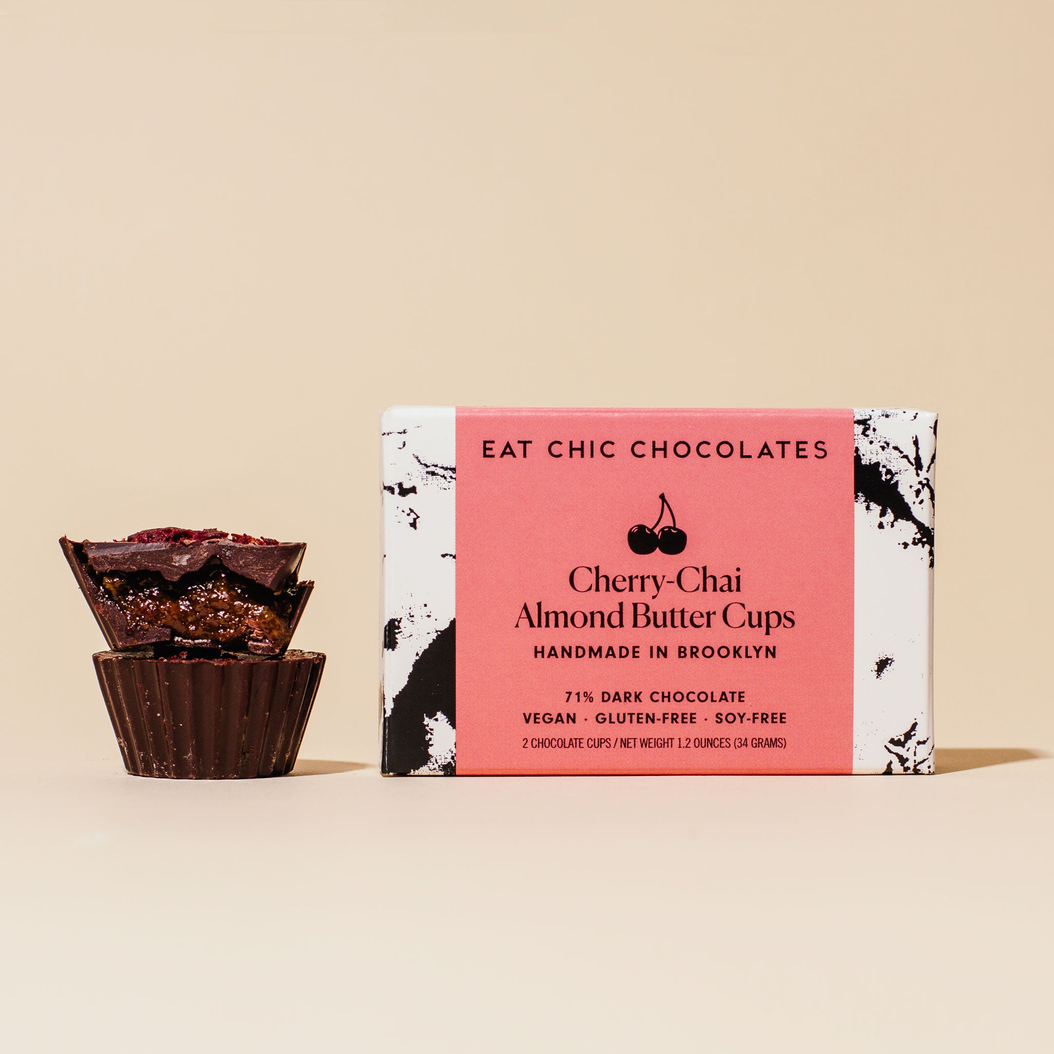 Dark Chocolate Cherry-Chai Almond Butter Cups - Box of Two