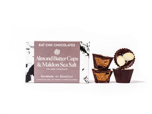 Dark Chocolate Almond Butter Cups with Maldon Sea Salt - Box of Four