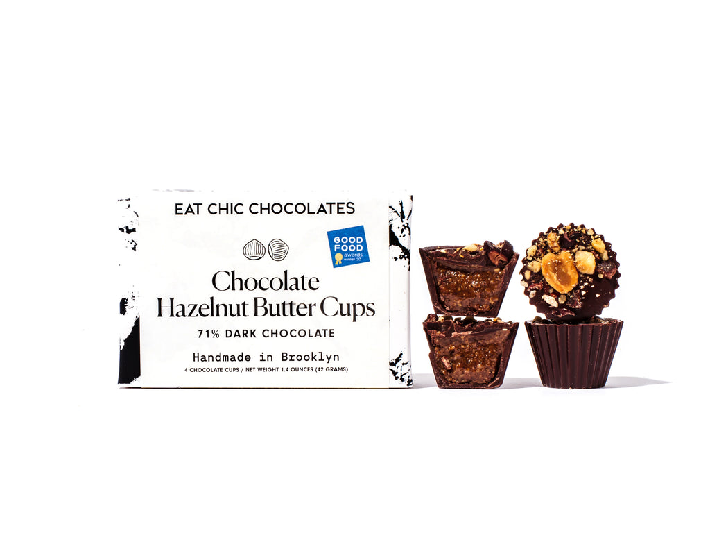 Dark Chocolate Chocolate-Hazelnut Butter Cups - Box of Four