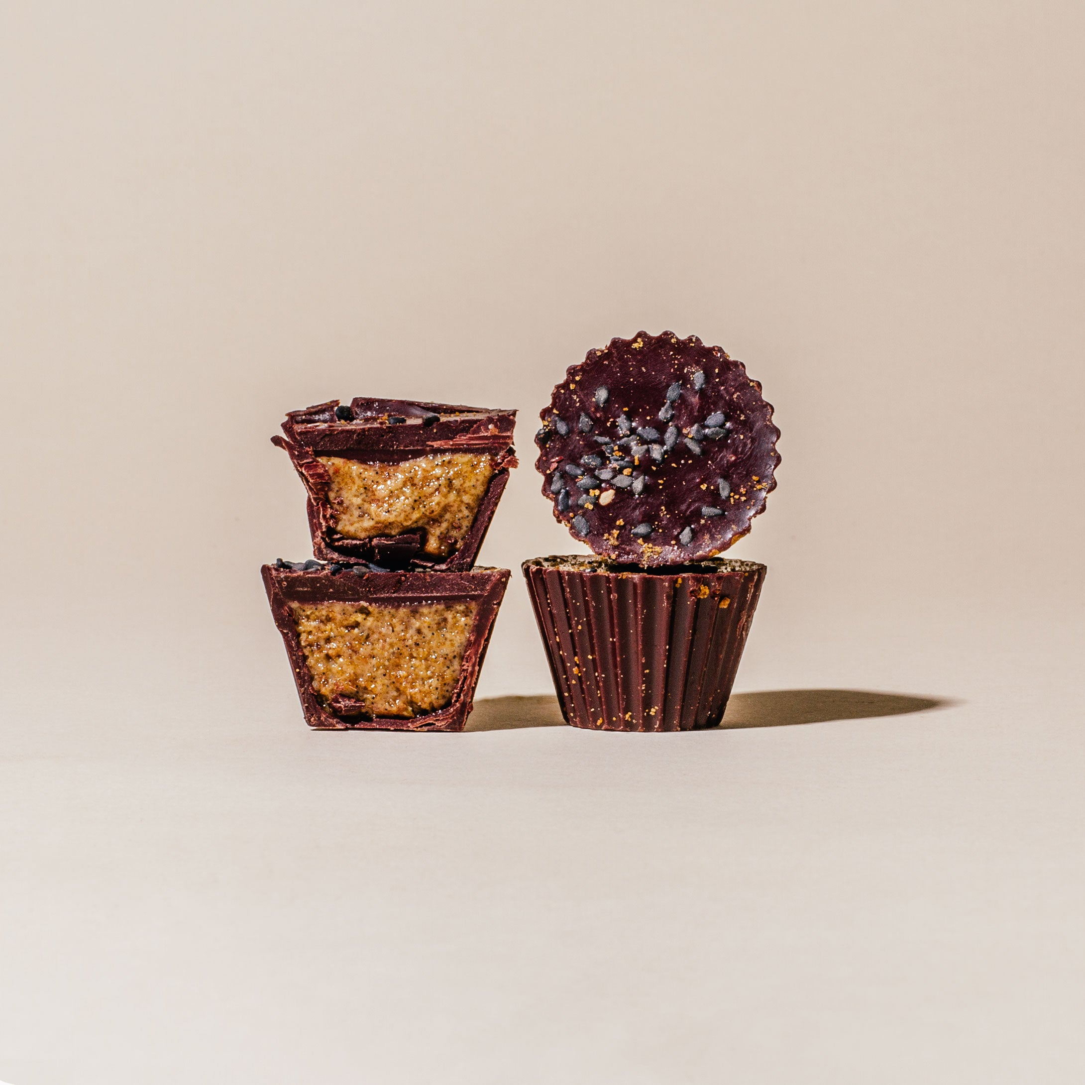 Dark Chocolate Coconut Sugar Tahini Cups - Box of Four