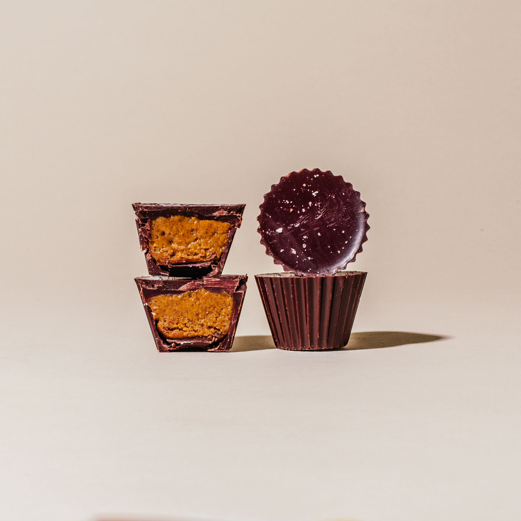 Dark Chocolate Peanut Butter Cups with Maldon Sea Salt - Box of Four