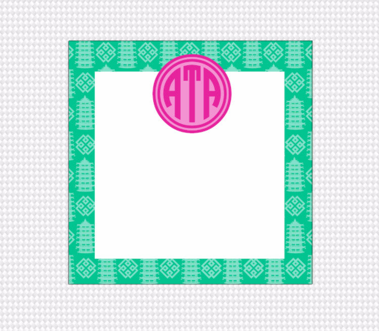 Pagoda Monogram Note Block