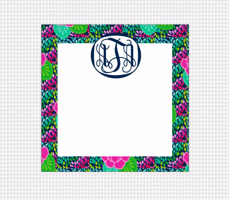 Peonies and Petals Monogram Note Block