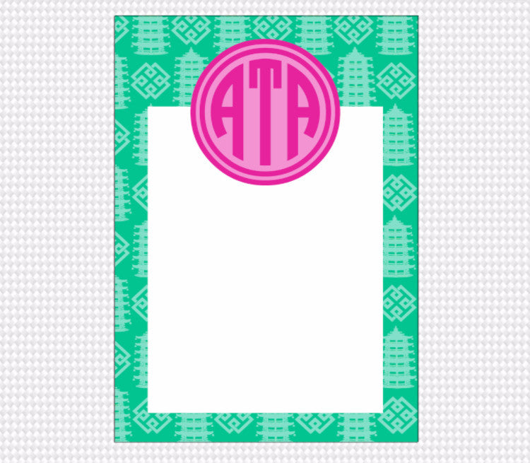 Pagoda Monogram Note Pad