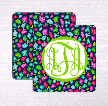 Cheetah Circus Monogram Coasters